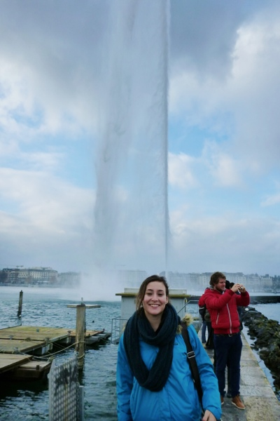 In front of Jet d'Eau in Geneva