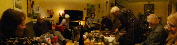 Panorama picture over Swedish traditional christmas celebration :) Gifts, wrapping paper, glögg, coffee, christmas candy...