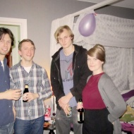 Stefan, Alvar, Axel and Elina in my bedroom/flea market