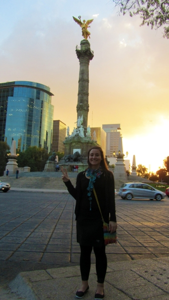 """In front of the Angel, the """"statue of liberty"""" of Mexico DF"""