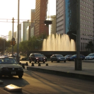 Water fountains in the sunset