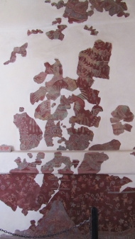 A mural with traces of original painting they found. Tepantitla
