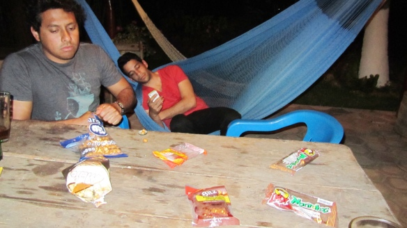 Last night, eating mexican snacks and candy. Really weird things, almost everything with chili.