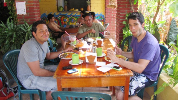 Breakfast at Morros with Emiliano, Oscar (surf teacher) and Fausto