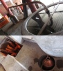 The process of mezcal. What comes out there in the right corner is destillated Mezcal.