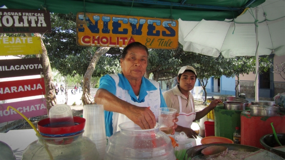 "Nieves, a typical ""ice cream"" from here."