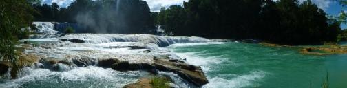 Panorama waterfalls Agua Azul
