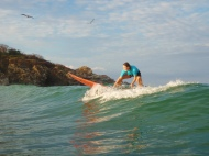 Surfing, or just getting up, or down, don't know really, but I'm on the board :)