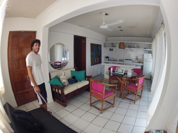 Our kitchen and living room! To the left we have a big balcony and the door there leads to our bedroom. So big!