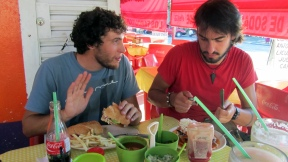 Eating lunch at the Zocalo with Duilio and Miel yesterday