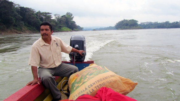 The driver of the boat in the lake between mexico and guatemala