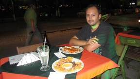 Eating early dinner in Flores with Francisco from Chile