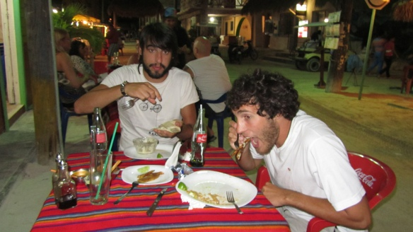 Eating dinner at the good place.. hungry men :) And Miel has such a funny face.. haha