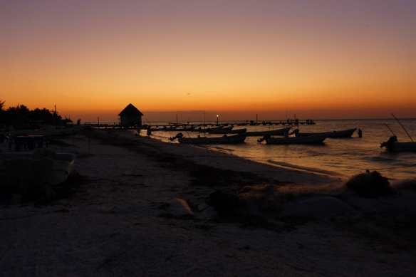 Sunset over Holbox beach