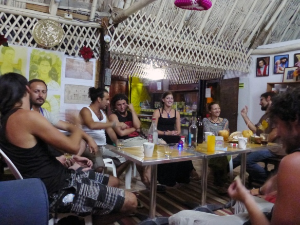 Some drinking at hostel Casa Maya.
