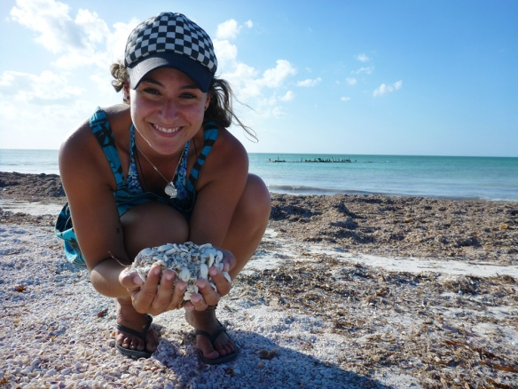 With lots of shells in the beach in Holbox!