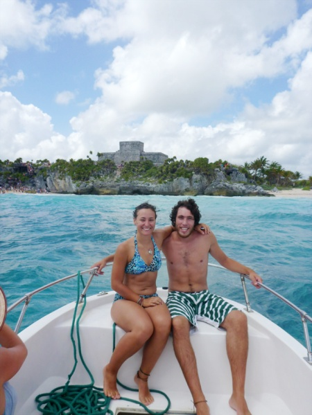 In front of the ruins of Tulum.