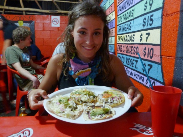 Me and my orders, one tacos, one panuche, one salbute and one gringa. :) All vegetarian. So good!