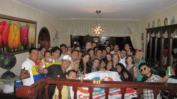 Group picture of everybody at the birthday party! And the Couchsurfing flag :)