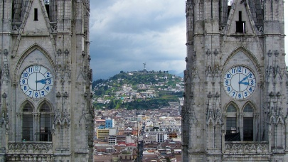 The towers and the Panecillo between.