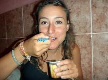 Eating flan with dulce de cajeta, with my spork! :)
