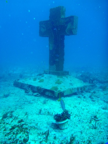 A really big cross under the water...!