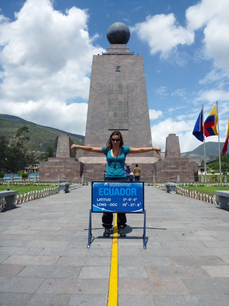 In front of the monument of the middle of the world, but the false one! 400 metres wrong.. haha.