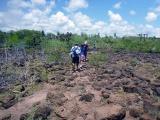On our way to las grietas, quite difficult to walk that way with the rocks and the heat!