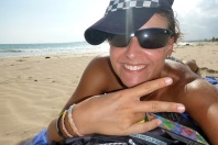 At the beach! Haha... I hate the sun in my face... you can see it in this pic..