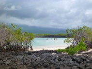 At a beach in the tour.. cloudy mountains.. soon going to rain!