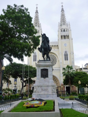 The symbol of Ecuador and the cathedral in the background