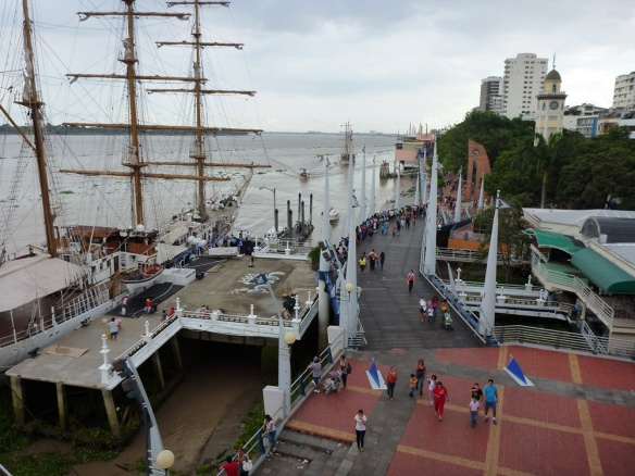 View from a mirador at the Malecon of Guayaquil and the Guayas Tall Ship. The boat with the marines of the city has just arrived, which only happens  twice a year. :)