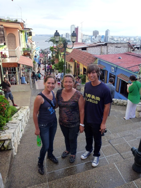 On our way up to the top of las peñas, and you can see the city in the background. It was the first time there for their mother too :)