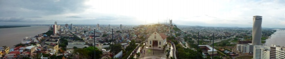 Panorama view over almost the whole city of Guayaquil next to the Guayas river.