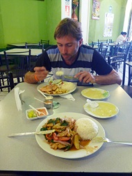 Having some vegetarian lunch with Mattias from Chile!