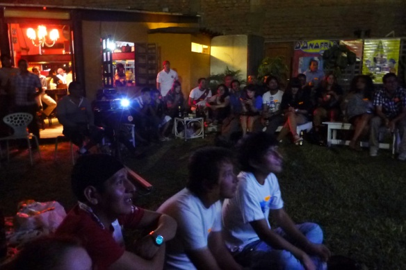 Watching the game at Flying Dog Hostal