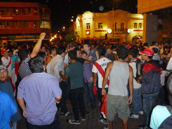 Full of people outside at the Kennedy park celebrating that Peru won the game!