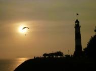 Sunset and parasailing (?)