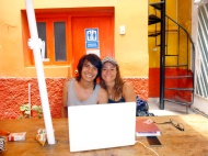 With anthony, my brother at the hostal :) Doing some videos!