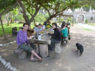 Breakfast at Eco Truly Park with volunteers and devotes... yummy!