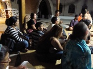 Singing hare krishna songs in the temple during the full moon party