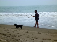 Daniel and one of our dogs