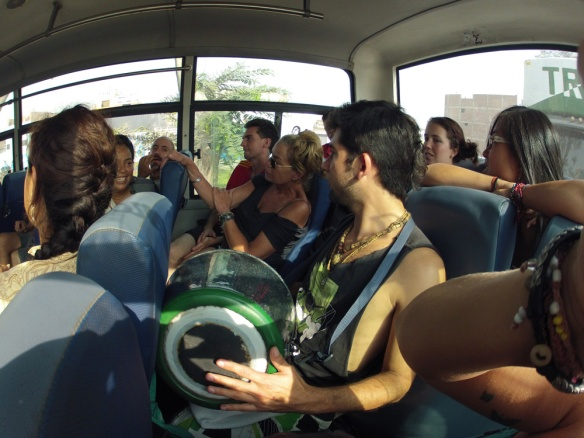 Roadtrip with devotes and volunteers! Singing in the bus :)