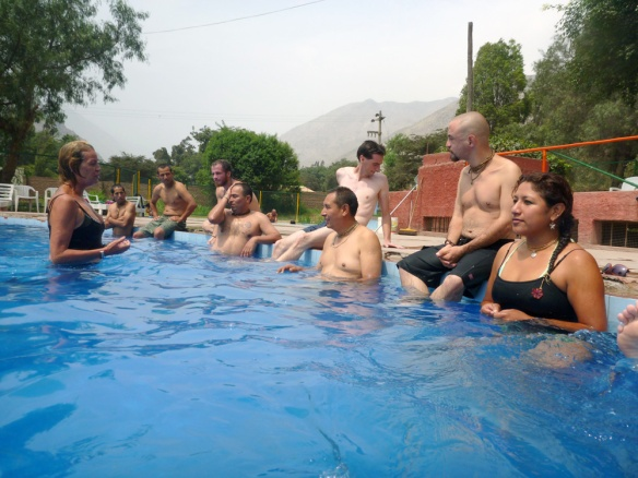 In the pool! We had some swim competitions :) So weird to see everyone in their bathing suits.