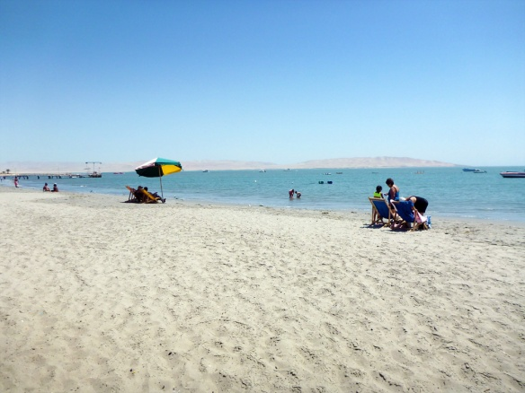 The beach in Paracas. Not soo nice, but the best I've visited in Peru so far, it's still sand. ;)