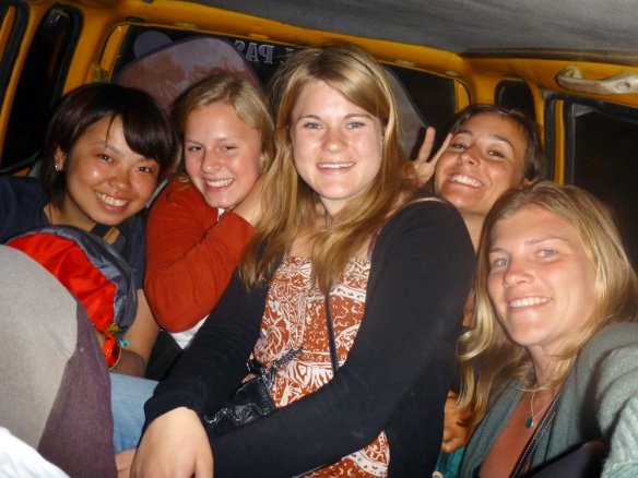 A little bit crowded in the back of the taxi :) Haha