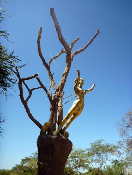 The statue of the famous witch Julia Hernández Pecho Viuda de Díaz