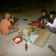 Dinner at the camping. Damn it that we didn't eat everything up, since the animals later took it.. haha.