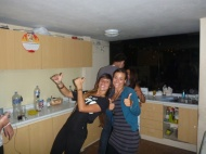 "With Dafne on the ""dance floor"", hehe."
