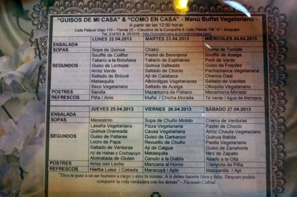 This weeks menu... isn't it lovely???